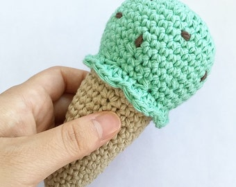 Mint Chocolate Chip Crochet Rattle