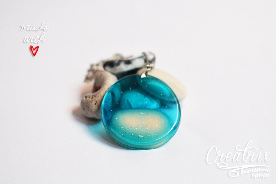 Ocean Necklace Beach Jewelry White Stone Necklace Resin