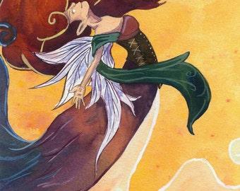 Fire Fairy Fine Art Print // Fantasy Elemental Fae Fire Fairie Watercolor Painting by Heather Reid