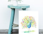 Boho Decor ⤀ Wall Art, Peacock Print | Instant Download  | Bohemian Wall Art | Bird Feather Art | Bright Art, Colourful Art Prints