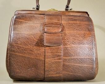Brown Leather '60ties Vintage Boxca Denmark Bag, Handbag, Office Bag, Doctor's Bag