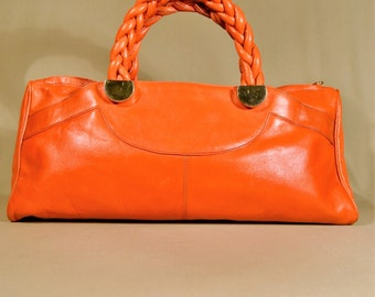 Vintage '90ties Orange Leather Bag, Handbag, Handcarrier, Ladybag, Big Bag