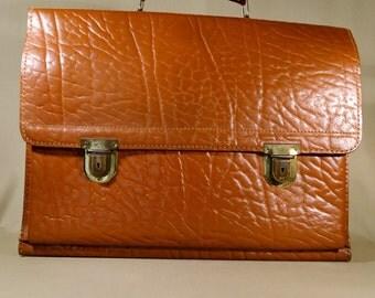 Vintage Cognac Colored Men's Leather School Bag, Messenger Bag, Handbag, Handcarrier, Office Bag, Professional Bag