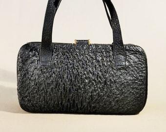 Vintage Original '30ties Black Leather Bag, Handbag, Evening bag, Lady Bag