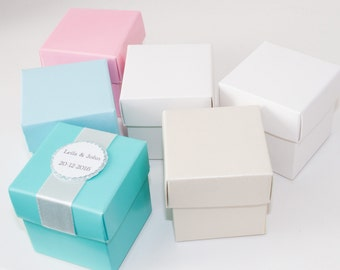 Wedding Favor Boxes, Square Favor Boxes, Personalized Favor Boxes, Metallic Ivory Boxes, Birthday, Baby Shower, Cupcake Boxes, 10 boxes