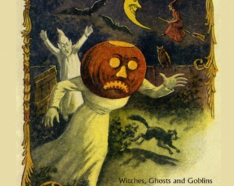 """Halloween 16""""x20"""" Witches Flying Ghosts Bats Cats Scary Trick or Treat Vintage Poster Repro Paper or Canvas FREE SHIPPING in USA"""