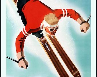 Ski Austria Central Europe Man Skiing Winter Sport Travel Tourism Vintage Poster Repro FREE SHIPPING in USA