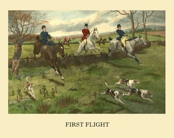 """Horse 16""""x20"""" First Flight Lady  Fox Hunting Scene with Hounds  Vintage Poster Repro Paper/Canvas FREE SHIPPING in USA"""
