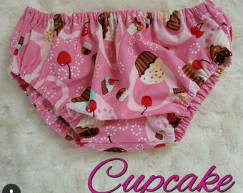 Cupcake Bloomers diaper cover-Hair bow- Wrap girls bloomer