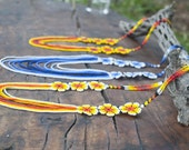 Flowers & Strings Elegant Necklace - Beads Jewelry, Sacred Deer ,Huichol Art, Tribal. Mexico
