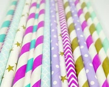Aladdin inspired straw variety. Moroccan party supplies. Aladdin party decor. Moroccan party straws. Paper straws. Aqua straws. Gold straws