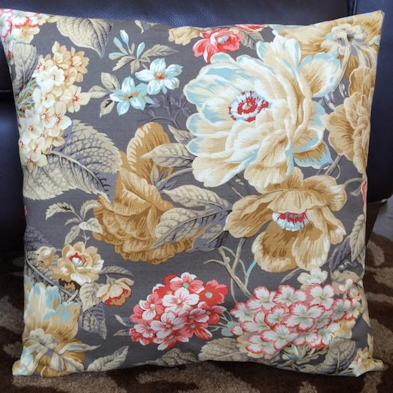 Shabby Chic Pillow Khaki Brown Blue Coral by MarolizanaDesigns