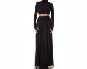 Maxi Black Skirt, High Waisted Skirt, Black Full Skirt, Plus Size Skirt, Long Pleated Skirt, Bohemian Black Skirt, Maxi Skirt, Loose Skirt