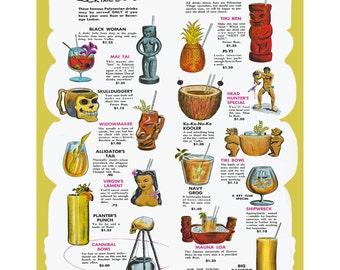 """Vintage Cannibal Room Tiki Drink Menu Print 11""""x14"""""""