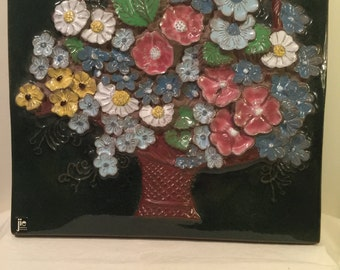 Vintage JIE Gantofta Wall Plate No 869 Flower Basket Aimo Nietsvouri