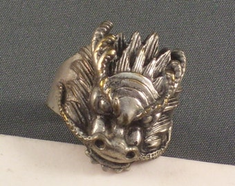 Vintage Chinese Silver Dragon Ring