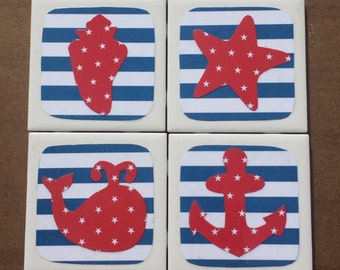 Patriotic Beach Coasters - Starfish, Whale, Anchor and Seashell