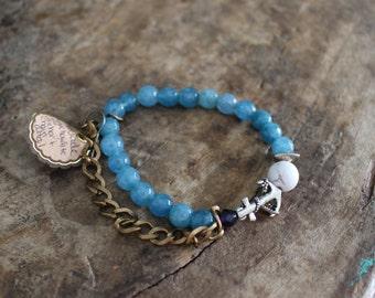 Teal jade stack bracelet