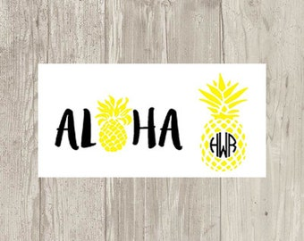 Pineapple Aloha Two Toned Decal/Sticker--Pineapple Two Toned Circle Monogram Decal/Sticker