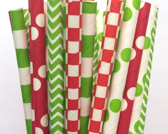 Mr. Grinch Paper Straws - Set of 25 - Green/Red Christmas Straws - Cake Pop Sticks - Drinking Straws