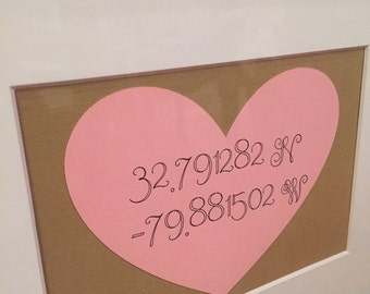 Valentine's Day gift, gps coordinates heart, wedding coordinates, map coordinates, latitude and longitude map.