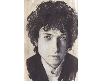 Portrait of Bob Dylan (PRINT of one of my sketchbook pages)