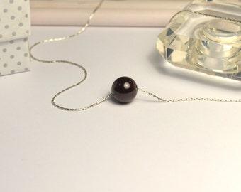 Garnet NECKLACE // Dot Necklace - Ball Necklace - Garnet Charm Necklace - Circle Necklace - Drop Necklace - Everyday Necklace
