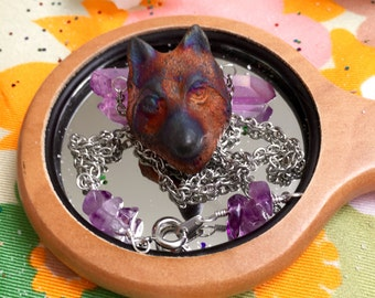 Clay Wolf Necklace with Amethyst