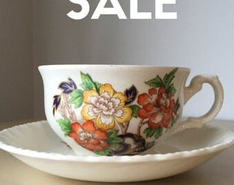 """ON SALE! Grindley """"Cream Petal"""" Teacup and Saucer set, Orange and Yellow Flowers with Blue and Green Leaves, Vintage Cup and Saucer"""