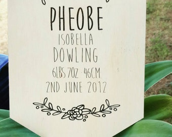 Engraved Timber / Wooden Baby Girl Announcement Plaque with Floral design. Nursery Decor. New Baby Gift. Custom Peraonalised Decor.