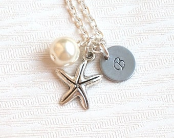 Set of 3 Starfish Necklaces, Personalized Bridesmaid Jewelry, Bridesmaid Gifts 3, Bridesmaid 3 Necklaces, Sea Star, Beach weddings