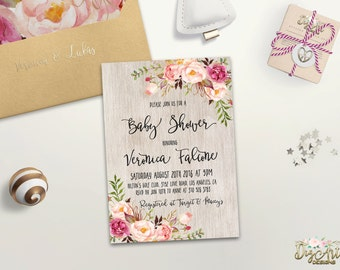 boho baby shower | etsy, Baby shower invitations