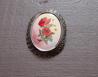 Vintage poppy brooch