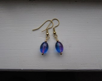 Blue/Pink Glass Earrings