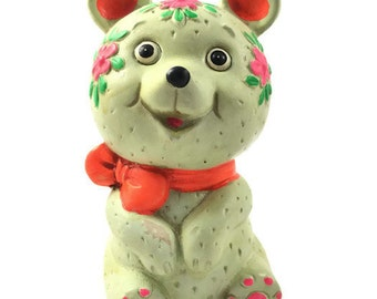 Vintage Hand Painted Bear Coin Bank / Piggy Bank