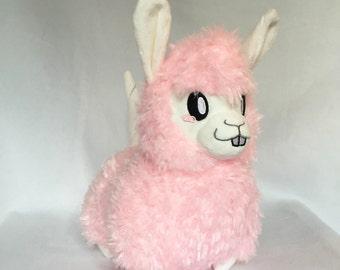 Cotton Candy Alpaca Plushie, Alpaca Plush Toy, Pink Alpaca
