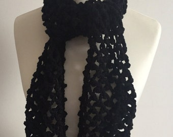 Black Scarf, Gift For Her, Christmas Stocking Filler, Crochet Scarf, Chunky Scarf, Long Scarf, Scarves, Women's Scarves, Lacy Scarf