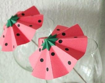 Party drink umbrellas, summer party decor, strawberry umbrellas, strawberries, birthday party decor, wedding decor, baby shower decor