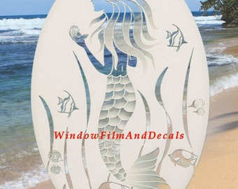 "Mermaid Oval Static Cling Window Decal 10.5"" x 16"" - White w/Clear Design"