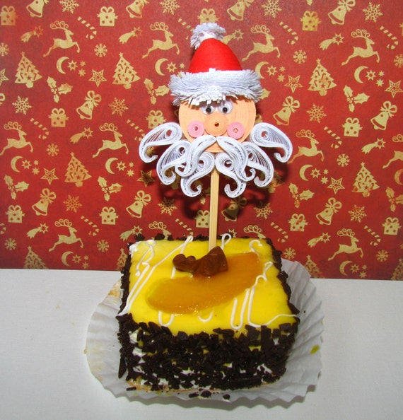 Etsy Christmas Cake Decorations : Items similar to Quilling art Cupcake topper with Santa ...