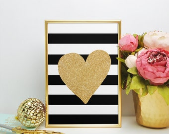 Heart Art, Heart Artwork, Gold Glitter Art Print, Printable Gold Art, Faux Glitter Gold, 5 x 7, 8 x 10.