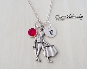 Matador Necklace - Spanish Matador Charm - Personalized Initial and Birthstone - Antique Silver Pewter Jewelry
