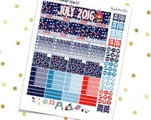 JULY MONTHLY VIEW Kit Confetti - Printable Pdf Jpg - Erin Condren Scrapbooking Plum Paper Planner Filofax Inkwell Press Stickers Summer 4