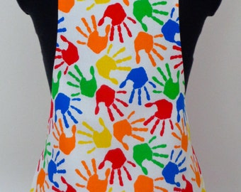 Colourful Handprint Apron | Kids Fabric Apron | Colourful Fabric Apron | Messy Handprints | Rainbow Paint Handprints