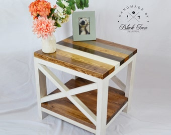 """Cottage Chic End Table - Shabby Chic Side Table - Farmhouse Table - """"X"""" End Table - Rustic Wood Furniture"""