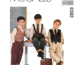 Boys Sewing Pattern McCalls 8392 Retro 50s Lined Vest Shirt Pants & Tie Boys Waistcoat and Suspender Trousers Kids Size 2 3 4 or 4 5 6 UNCUT