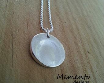 Circle Silver Fingerprint Pendant