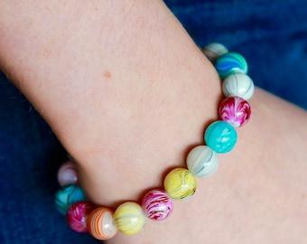 Multicoloured Round Beaded Bracelet