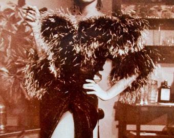 Marilyn Monroe 1980s Sepia Postcard, Split Leg Evening Gown, Ludlow New York