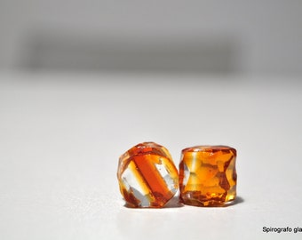 pair of hand-made glass plugs